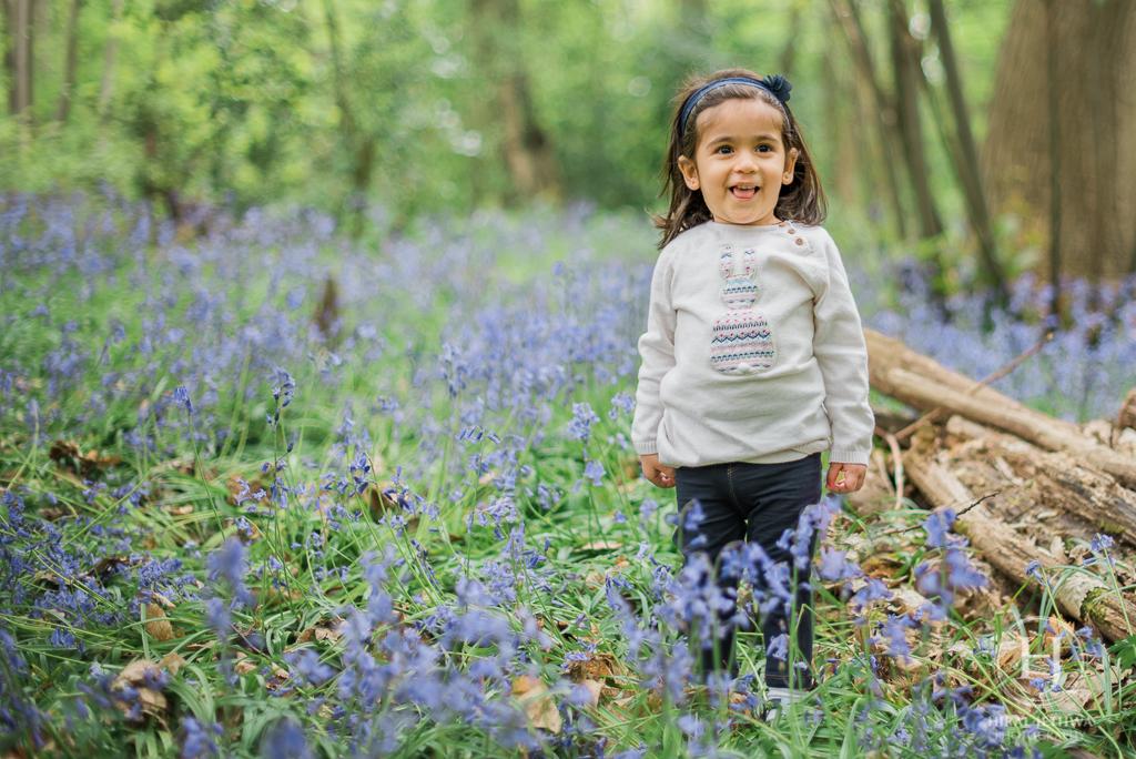 Essex Bluebelle Mini Session Little Girl Having Fun amongst the bluebells