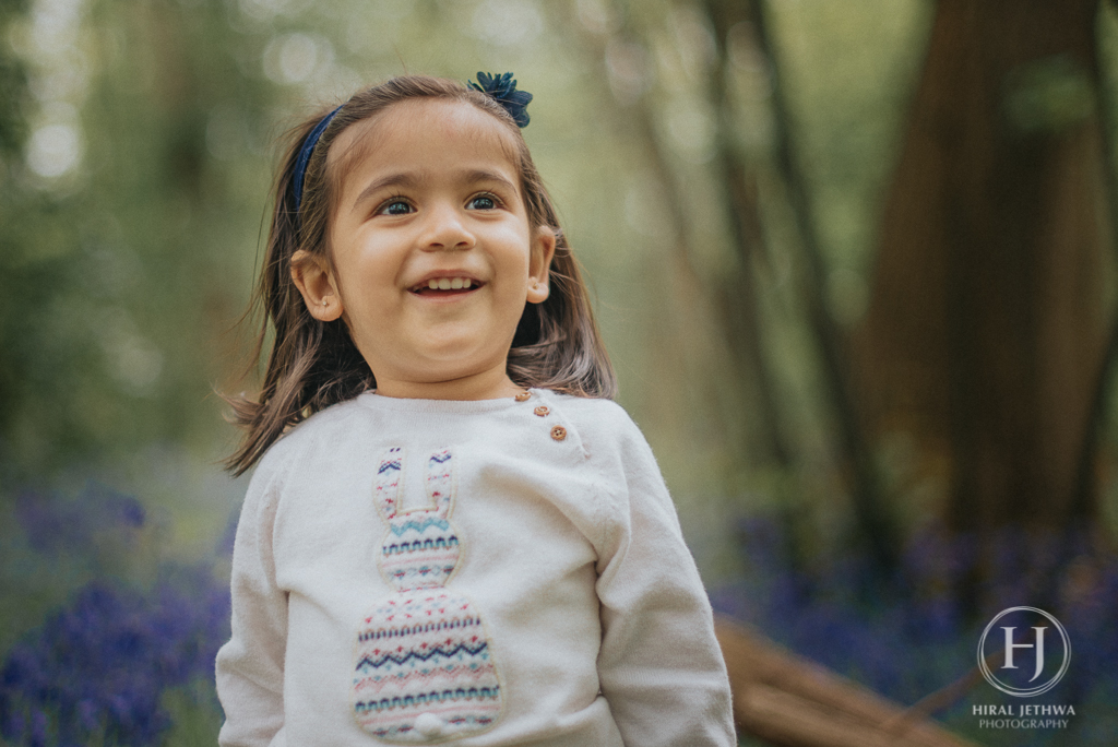 Essex Bluebelle mini sessions little girl smiling