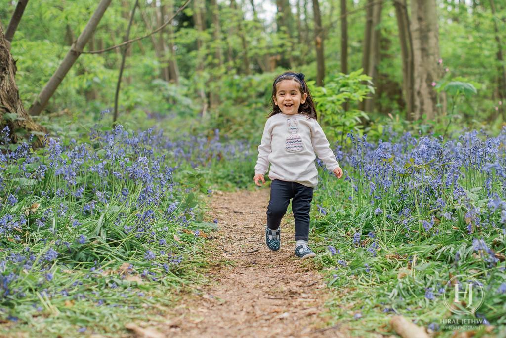 Essex Bluebelle photo shoot little girl running