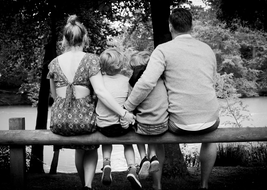 Family creative group photo black and white