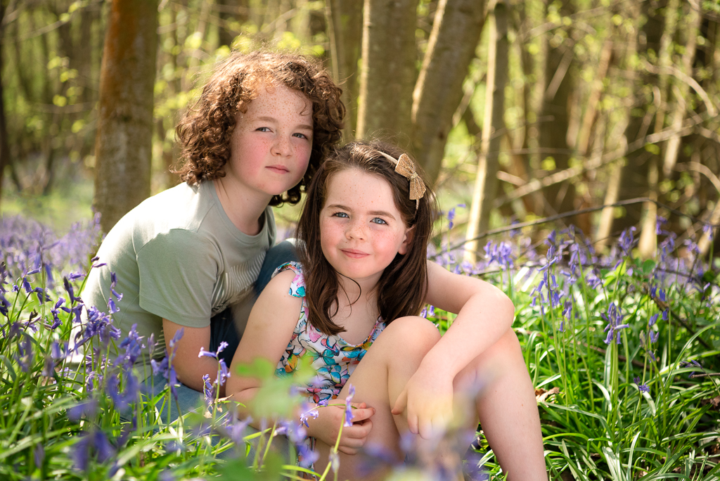 Blakes Woods Essex brother and sister outdoor photoshoot bluebells