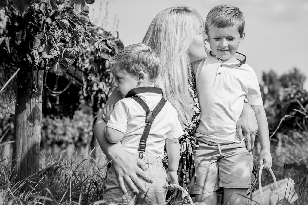 Lathcoats Farm Essex fruit picking family photo session mother with her two sons