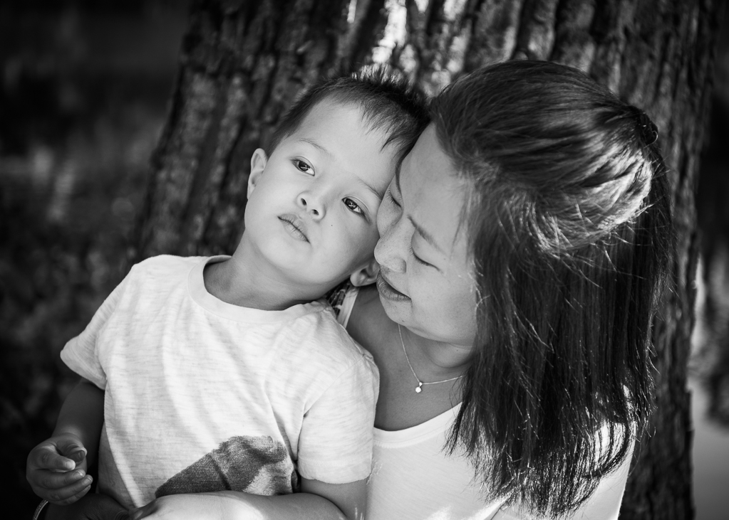 Mother and child portrait black and white photo