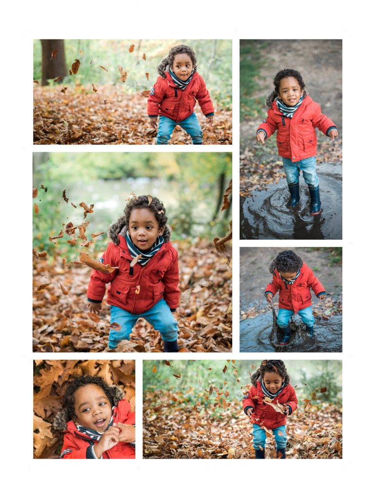 Child photo session in the woods - leaf throwing activity