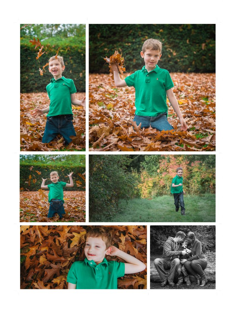 autumn family sessions - family of 3 taking a walk in the woods and throwing leaves