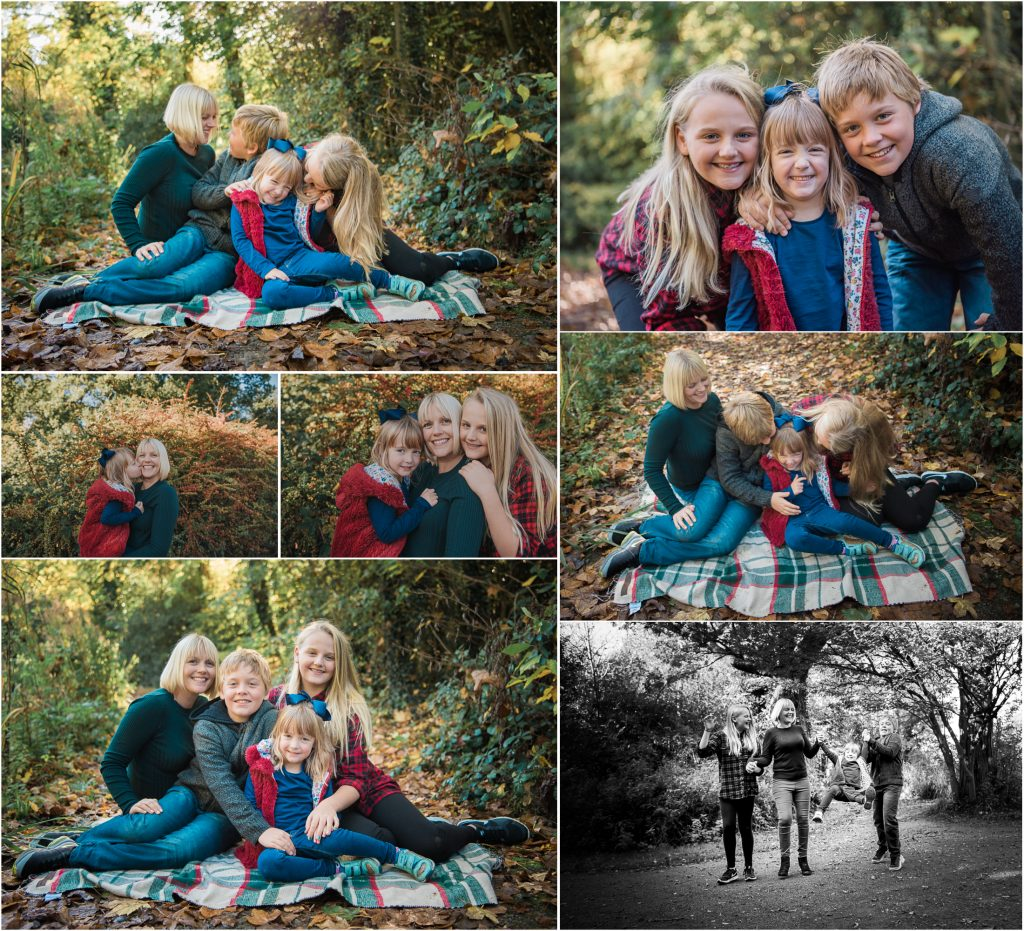 autumn family sessions - mother with her children in the woods