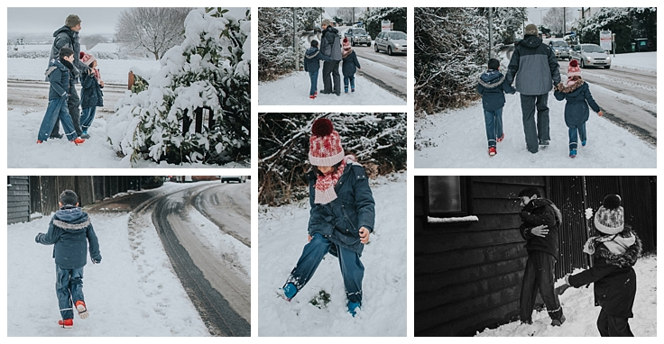 Essex Family Photographer two children snow documentary photo shoot