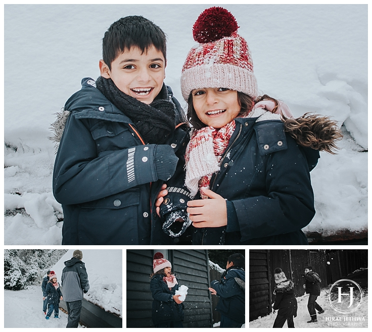 Essex Family Photographer two children snow ball photo shoot