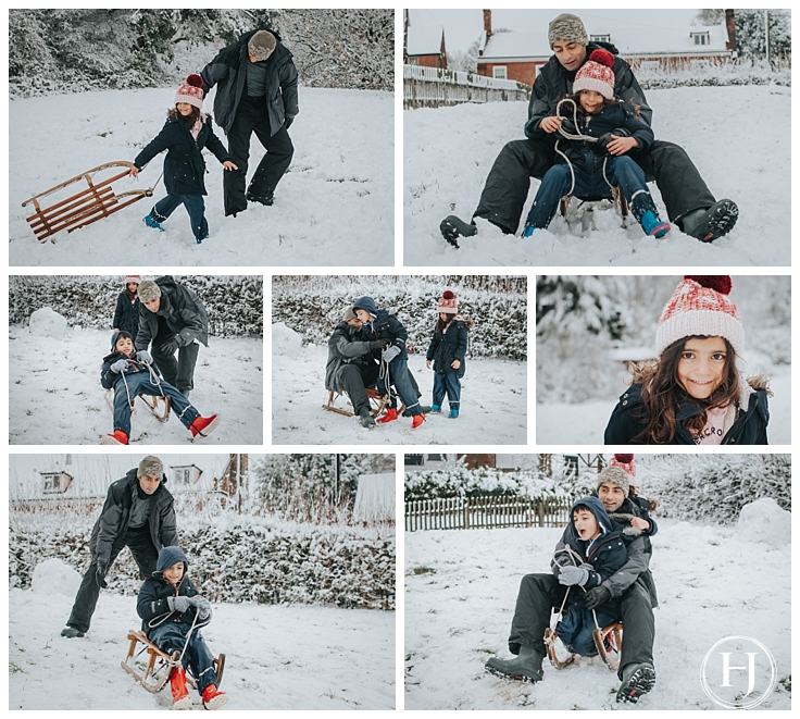 Essex Family Photographer two children snow photo shoot with a sledge