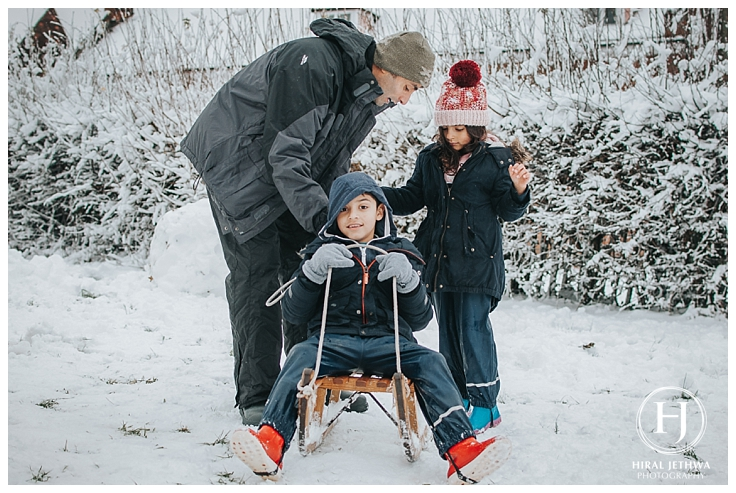 Essex Family Photographer two children and their day on a sledge