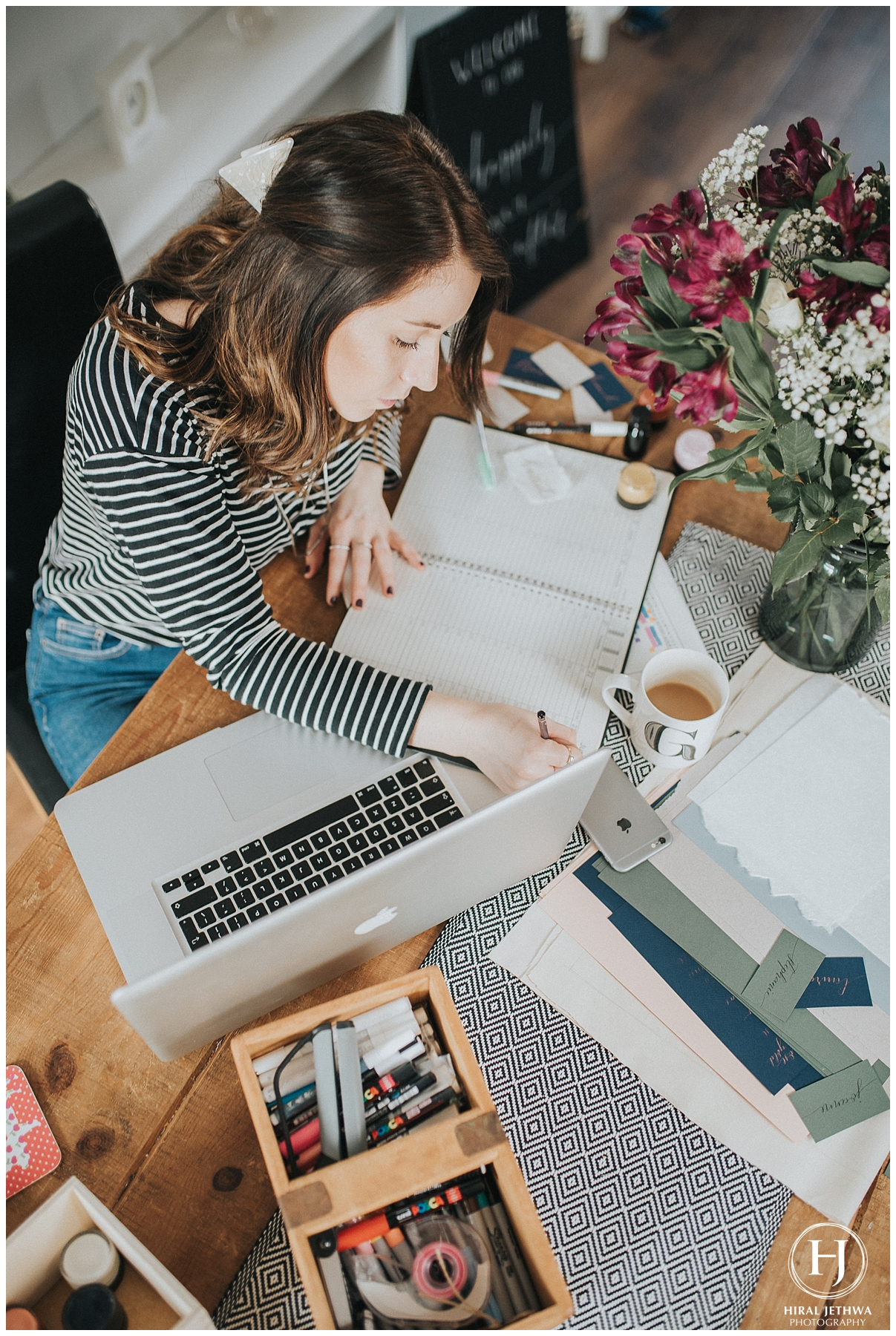 Personal Brand Photography Calligrapher Working At Her Desk