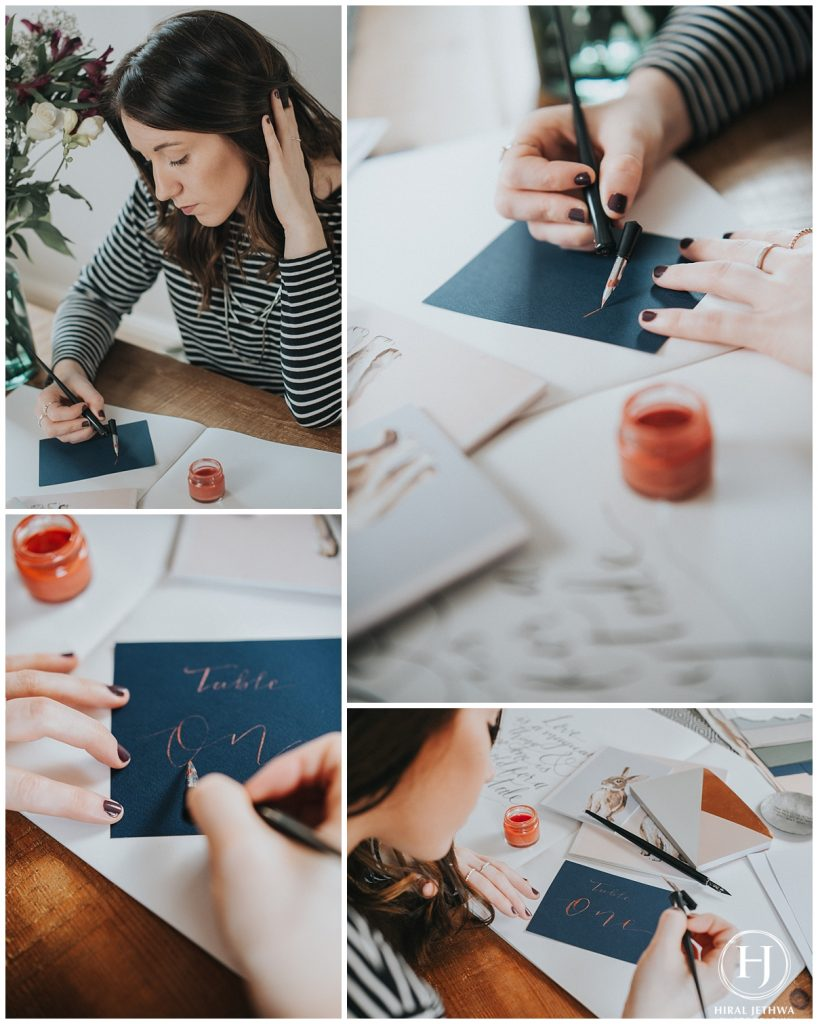 Personal Brand Photography Calligrapher Working on a wedding order