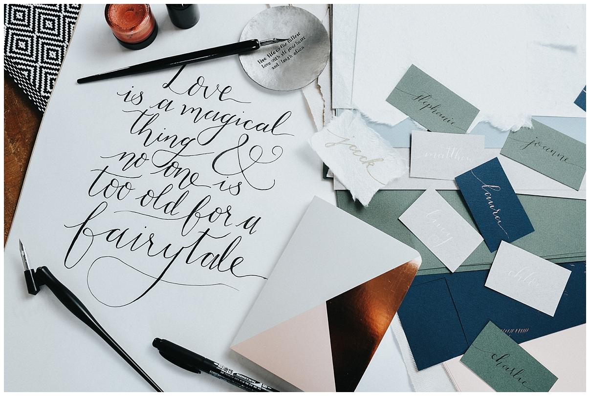 Flat Lay Image of wedding invites