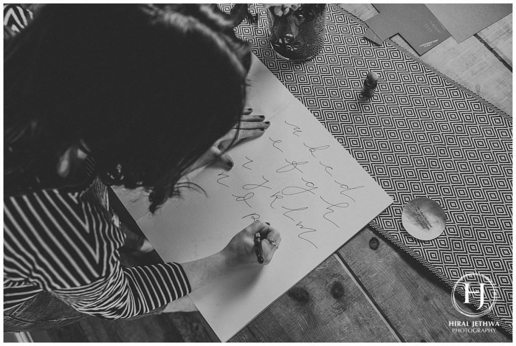 Personal Brand Photography Calligrapher Working