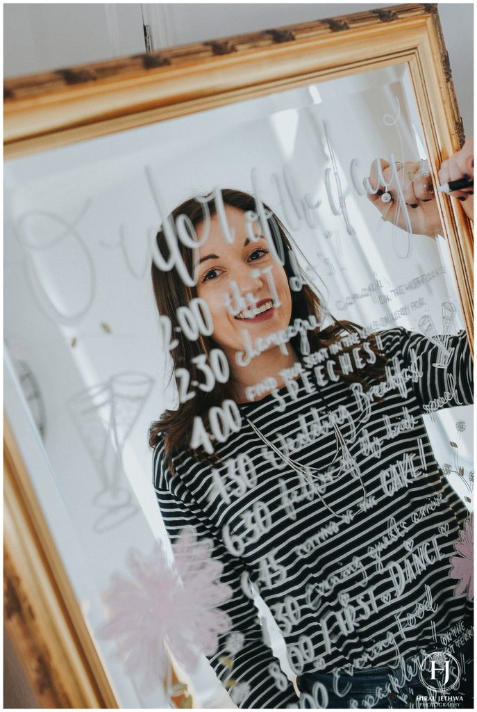 Personal Brand Photography Calligrapher Writing On A Mirror Table Plan