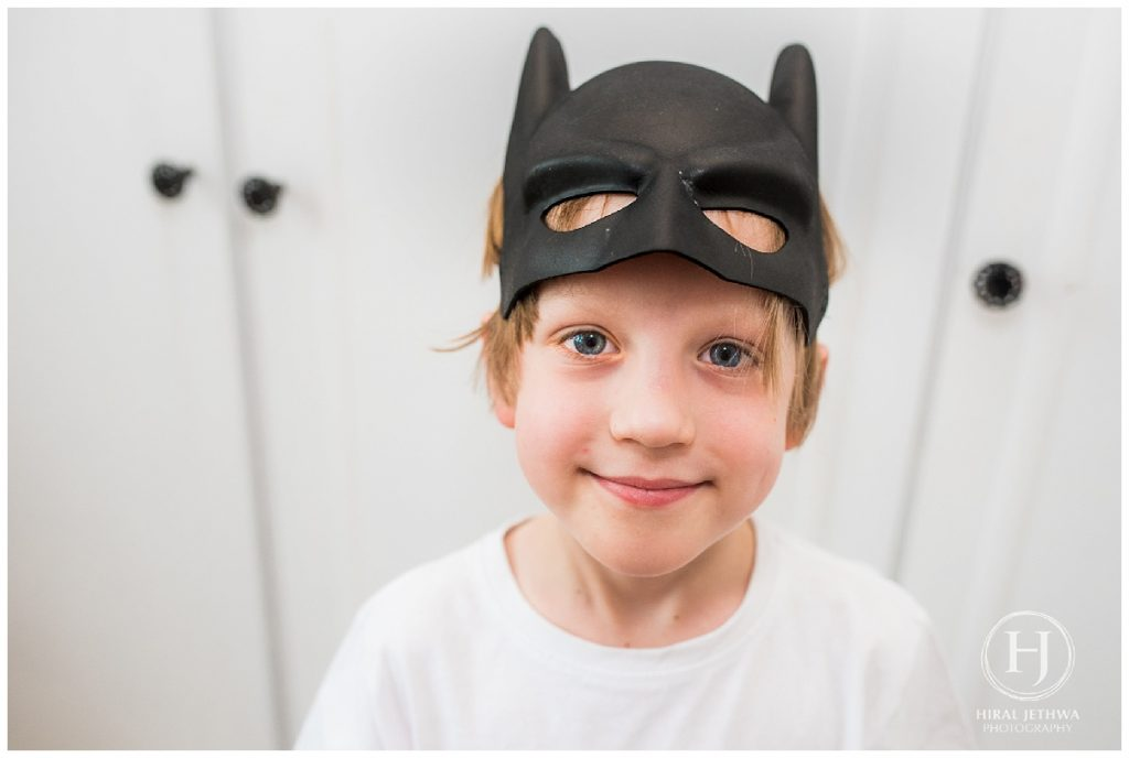 Dressing up as batman for a at home family shoot
